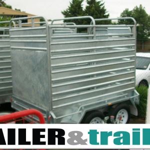 10x5 Tandem Heavy Duty Galvanised Stock Crate Trailer for Sale