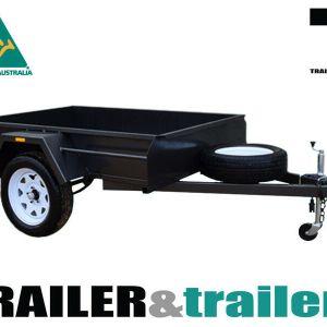 7x5 Single Axle Medium Duty Fixed Front Checker Plate Floor Box Trailer for Sale