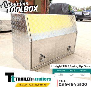 Upright Tilt with Swing Door Aluminium Toolbox Trailer Storage Sale Melbourne Victoria