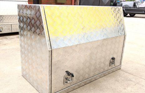 Upright Tilt with Swing Door Open Aluminium Toolbox
